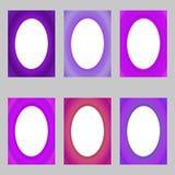 Purple abstract digital art brochure frame set Stock Images