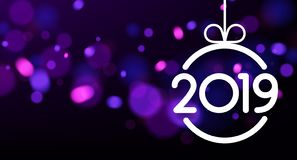 Purple abstract 2019 New Year card with Christmas ball. royalty free illustration