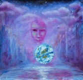 Purple abstract painting. Clouds. Mystical street. Glowing ball. Face. Royalty Free Stock Image