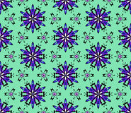 Purple Abstract Seamless Pattern on a Green Background Stock Photography