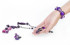 Purple accessories Stock Photography