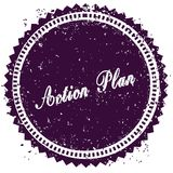 Purple ACTION PLAN distressed stamp. Illustration image concept Stock Photos