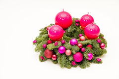 Purple advent wreath Royalty Free Stock Images