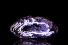 Purple Agate Druse in front of Black Stock Photography