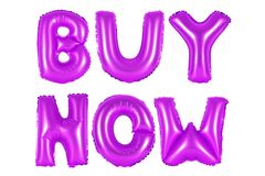 Buy now, purple color. Purple alphabet balloons, buy now, purple number and letter balloon Royalty Free Stock Photo