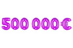Five hundred thousand euros, purple color stock photography