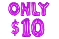 Only ten dollars, purple color. Purple alphabet balloons, only ten dollars, purple number and letter balloon Stock Photography