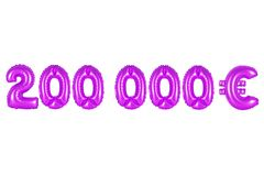 Two hundred thousand euros, purple color. Purple alphabet balloons, two hundred thousand euros, purple number and letter balloon Royalty Free Stock Photo