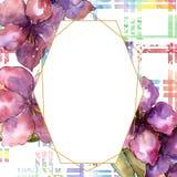 Purple amaryllis flower. Watercolor illustration set. Drawing aquarelle frame or border. Geometric crystal mosaic shape. Purple amaryllis flower. Watercolor stock image