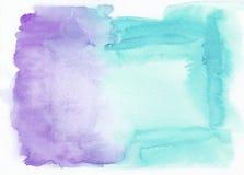 Purple of amethist en turkooise horizontale de gradiëntachtergrond van de hemel blauwe gemengde waterverf Het ` s nuttig voor gro stock illustratie