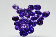 Purple amethyst loose gemstone Royalty Free Stock Photos
