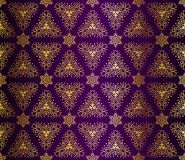 Purple And Gold Seamless Arabesque Stock Image
