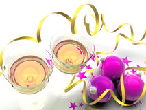Purple And Yellow Christmas Decorations Royalty Free Stock Photography
