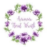 Purple anemone flower arrangements, watercolors, text templates royalty free illustration
