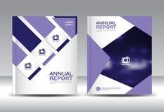 Purple Annual report template vector illustration Stock Photos