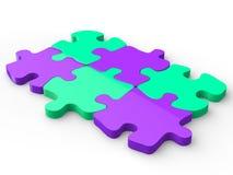 Purple and aquamarine puzzle pieces vector illustration