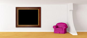 Purple armchair with frame in modern interior Stock Photos
