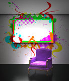Purple armchair with grunge frame Stock Image