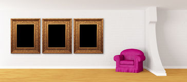 Purple armchair with picture frames Royalty Free Stock Photography
