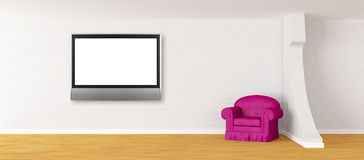 Purple Armchair With Lcd TV In Modern Interior Royalty Free Stock Photo