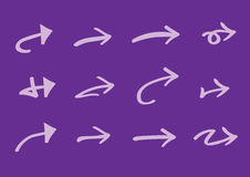 Purple Arrow Icons Vector Illustration. Vector illustration of different types of arrows  on purple background Royalty Free Stock Photo