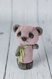 Purple artist teddy bear in pink dress one of kind Royalty Free Stock Photos