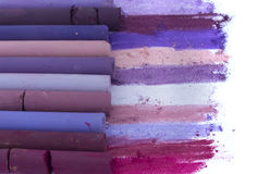 Purple artistic crayons Royalty Free Stock Images