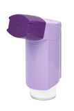 Purple asthma Inhaler. Isolated on a white background Royalty Free Stock Images