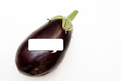 Purple aubergine and comics style label Royalty Free Stock Photos