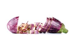 Purple aubergine sliced in different ways Royalty Free Stock Image