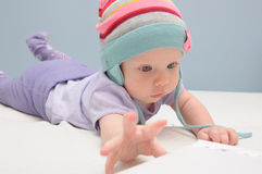 Purple baby girl Royalty Free Stock Photo
