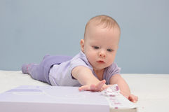Purple baby girls first catch Royalty Free Stock Photos