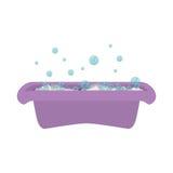 Purple babys bathtub with soap bubble Stock Photos
