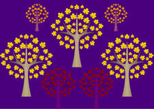 Purple background with abstract autumn trees. The purple background with abstract autumn trees Stock Photo