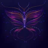 Purple background abstraction butterfly line Stock Photo