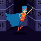 Purple background buildings brick facade with superhero man flying with costumes and complete mask. Vector illustration Royalty Free Stock Photos