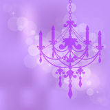 Purple background with chandelier Stock Photo