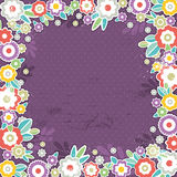 Purple background of color flowers, vector Royalty Free Stock Image