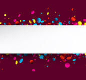 Purple background with colorful confetti. Royalty Free Stock Photography