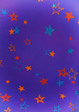 Purple background with colorful stars. Purple background with yellow,orange and blue shiny stars stock illustration