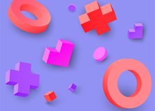 Purple background with colour 3d geometric figures. Purple background with colour 3d geometric figures pattern. Vector illustration.r Stock Images