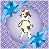 Purple background with a dog. Purple square background with a dog Royalty Free Stock Photos