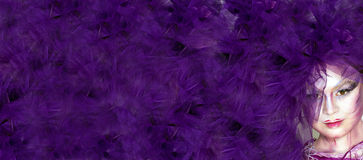 Purple background with extravagant girl Stock Photos