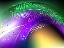 Purple background with feathers Mardi Gras royalty free illustration