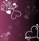 Purple background with floral ornaments and hearts Stock Photos