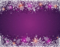 Purple background with  frame of snowflakes and stars,  vector Royalty Free Stock Photos