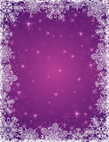 Purple background with  frame of snowflakes, vecto Stock Photography