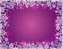 Purple background with frame of snowflakes, vector Stock Photography