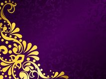 Purple background with gold filigree, horizontal. Stylish background with a metallic victorian pattern. Graphics are grouped and in several layers for easy royalty free illustration