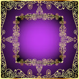Purple background with gold ornament and precious  Stock Photos